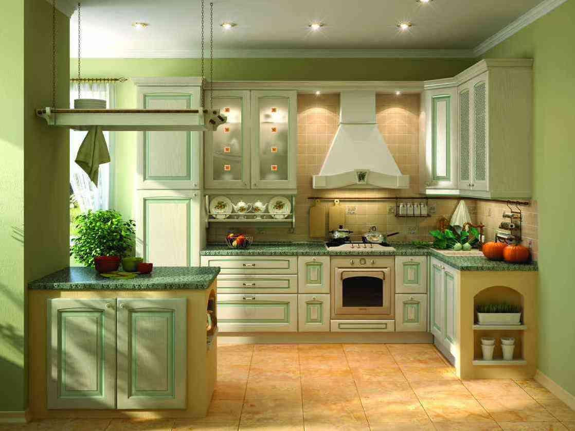 Оливковые обои на кухне