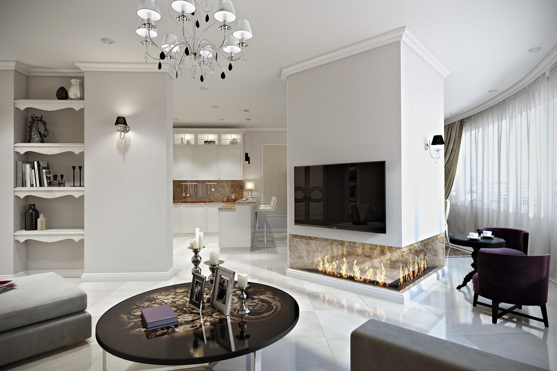 Кухня-гостиная с камином в интерьере