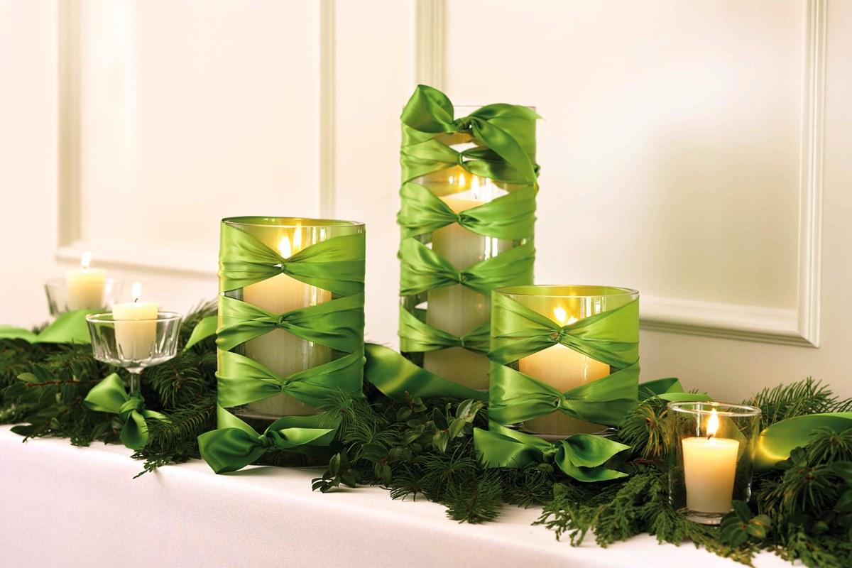 Декор свечи лентой