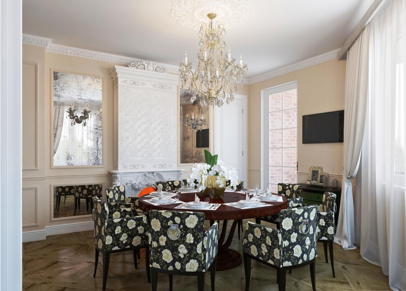 Кухня-гостиная с лепным камином