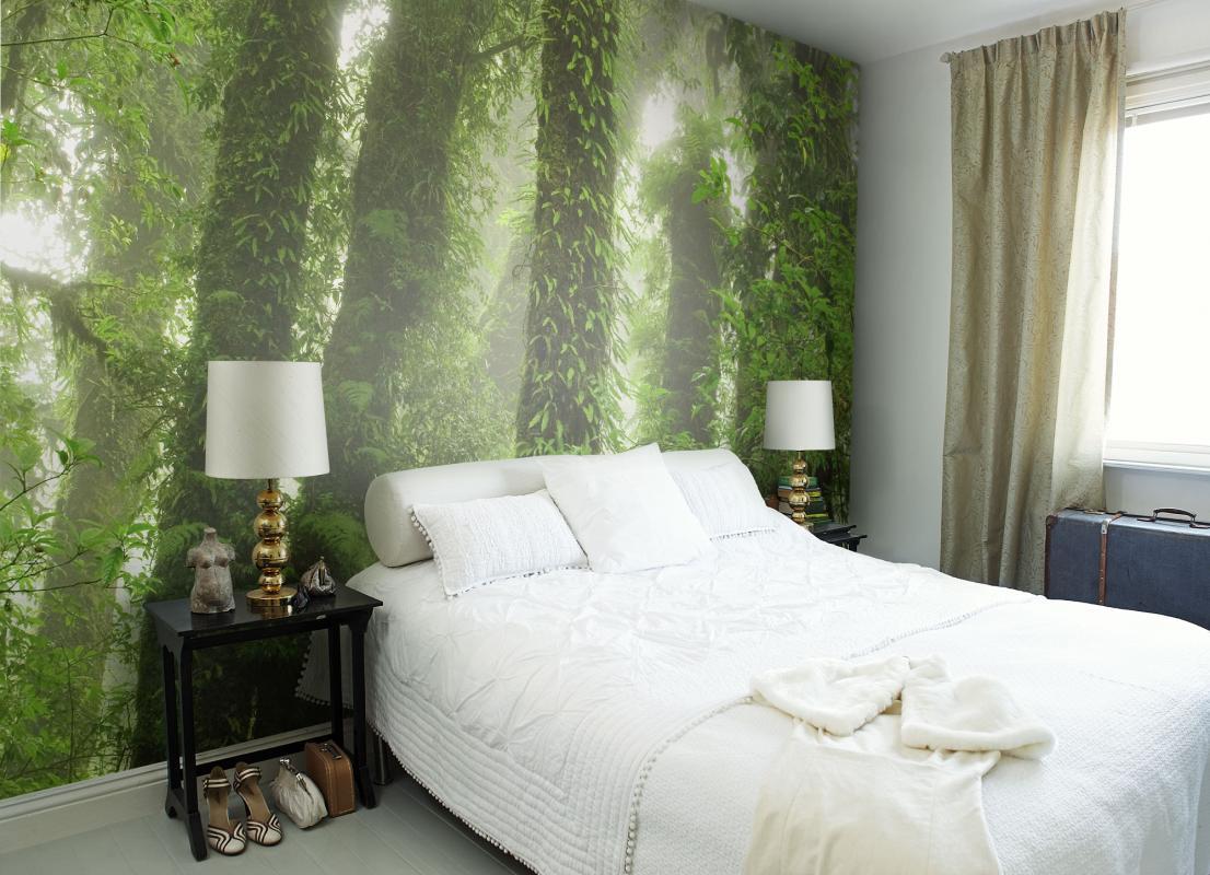 """Фотообои """"лес"""" над кроватью"""