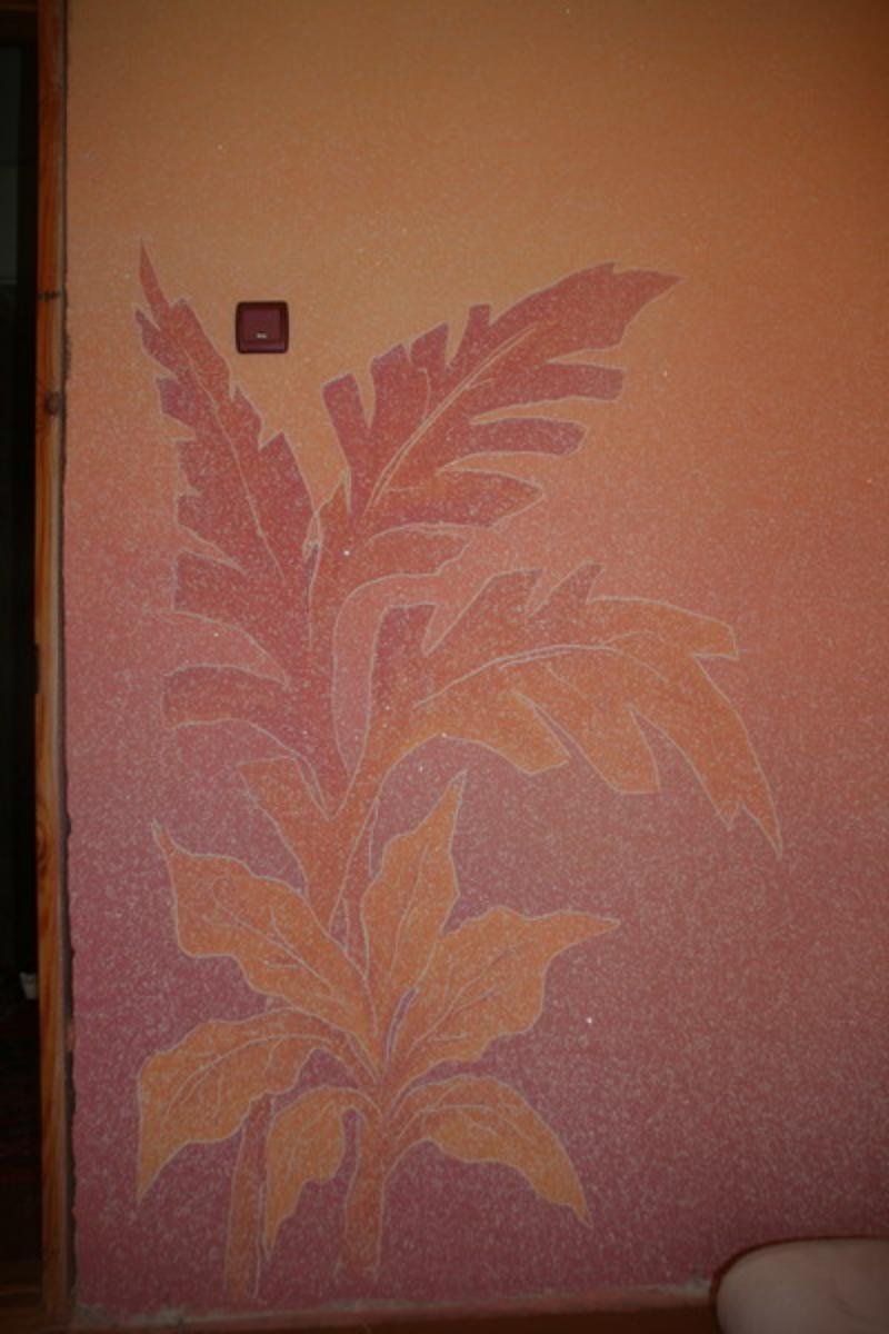 Рисунки жидкими обоями с листьями