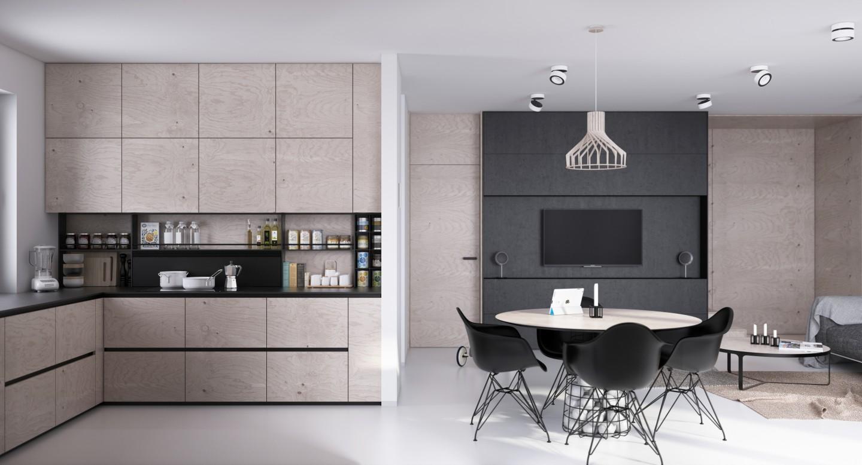 Кухонная мебель без ручек в стиле лофт