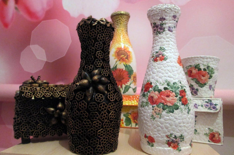 Декор вазы макаронами