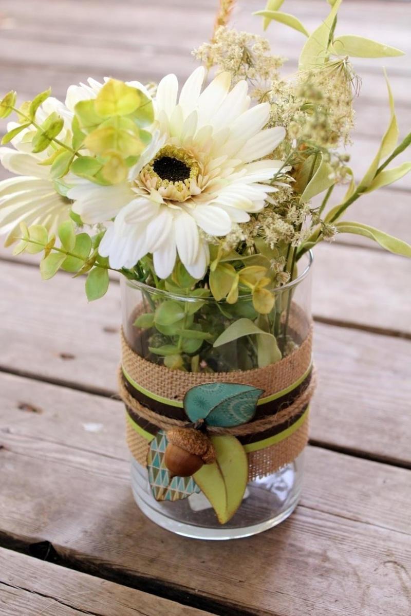 Декор вазы мешковиной