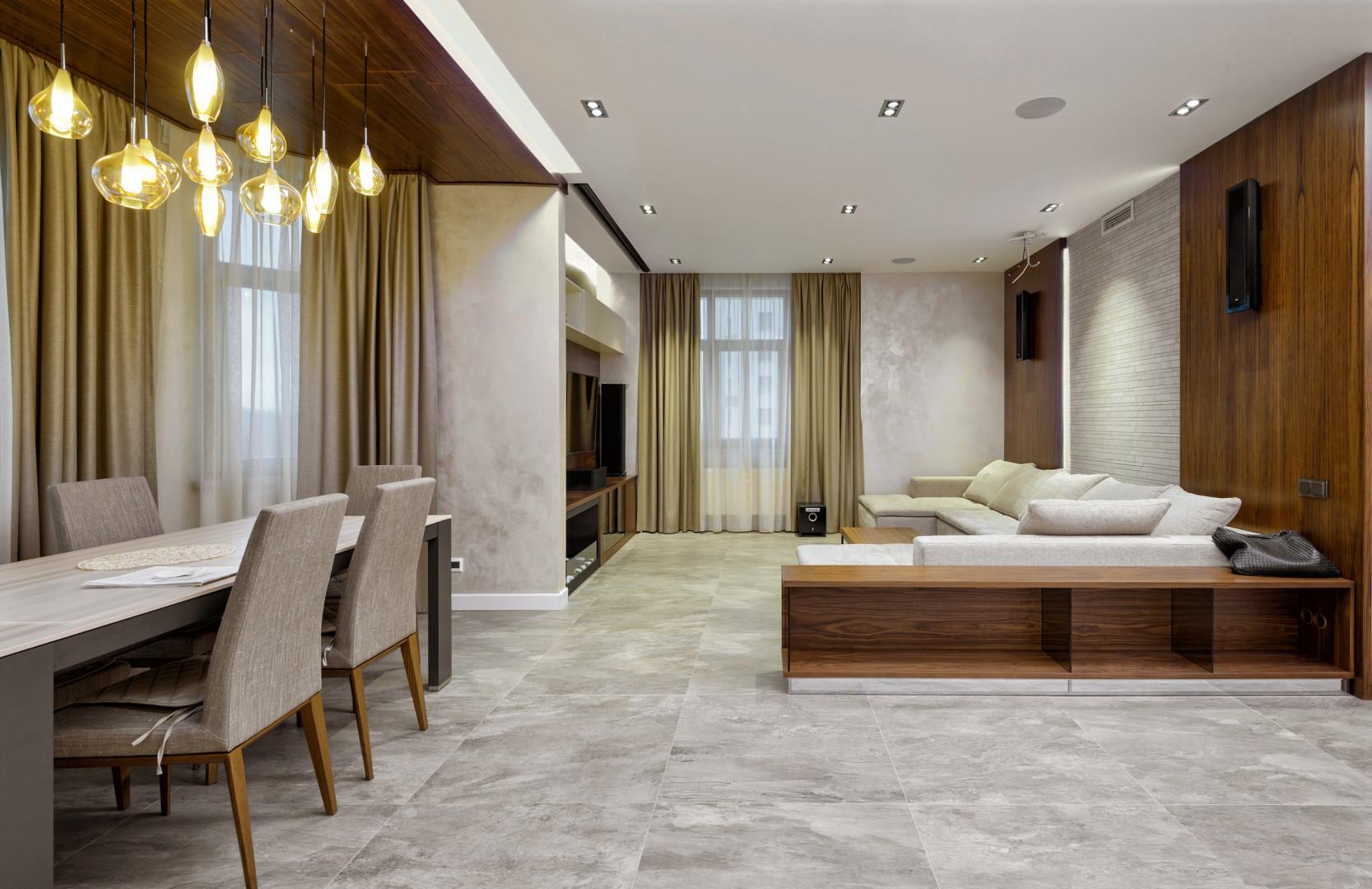Кухня-гостиная с камином в минималистском стиле