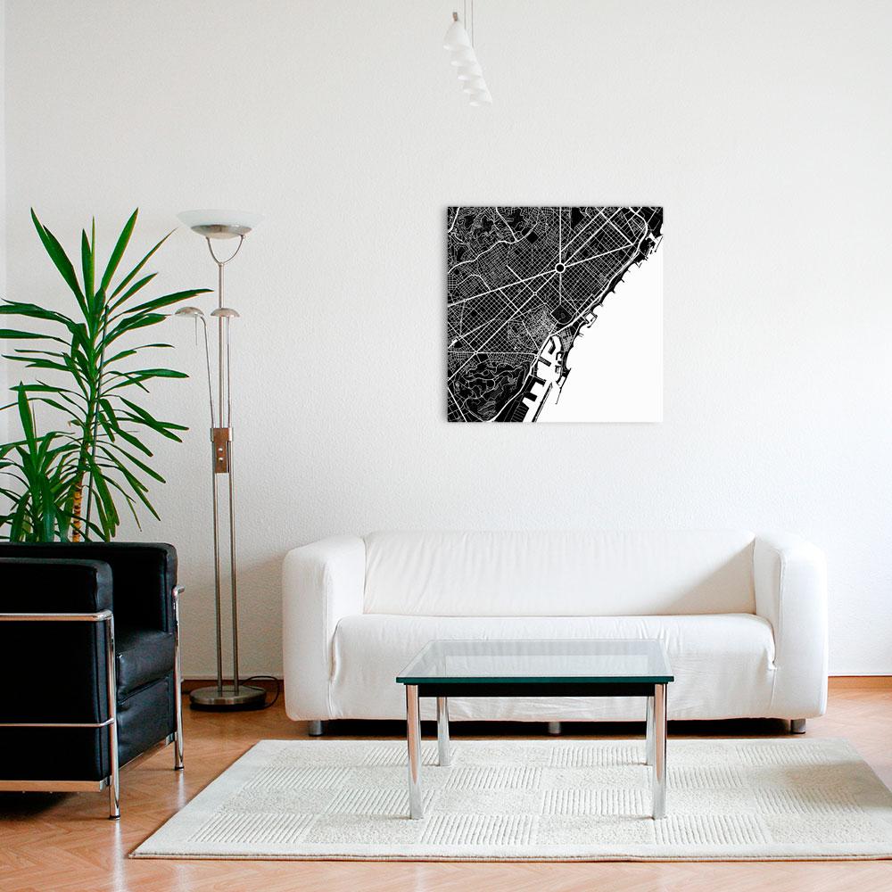 Карта в минималистском интерьере