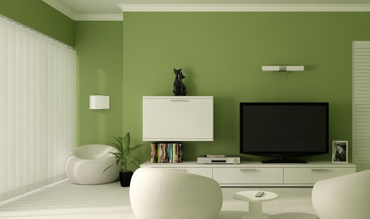Оливковые обои в минималистичном интерьере