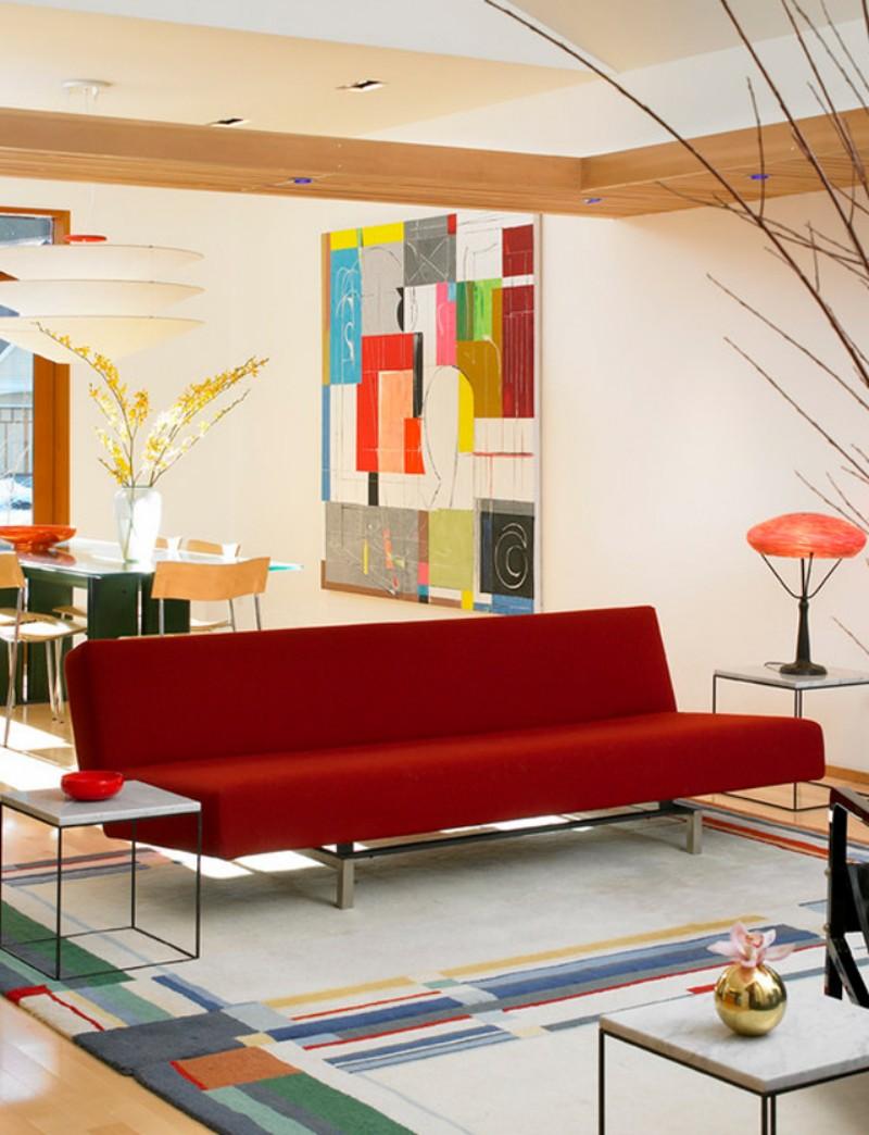Красный диван в стиле модерн