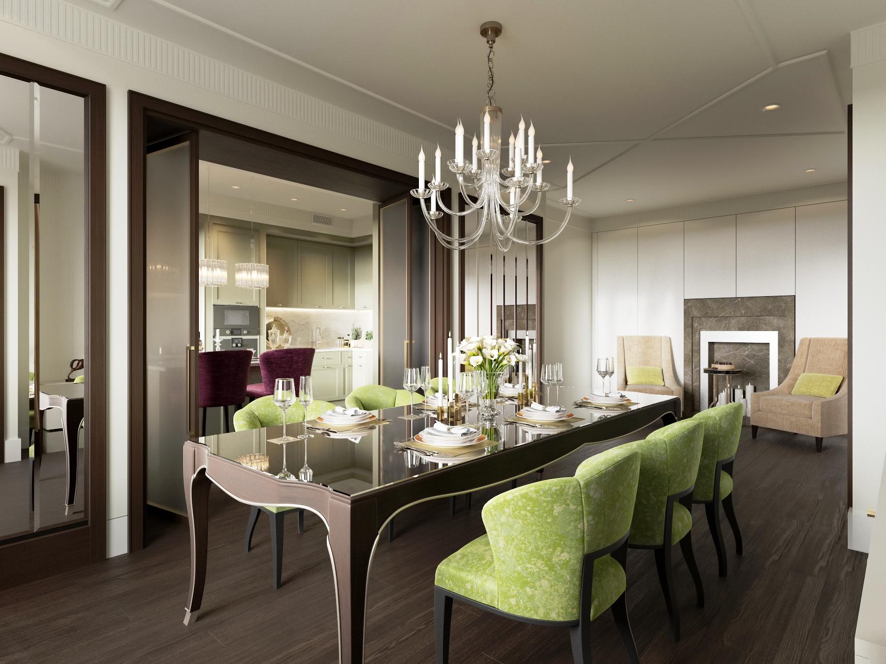 Кухня-гостиная с камином в стиле модерн