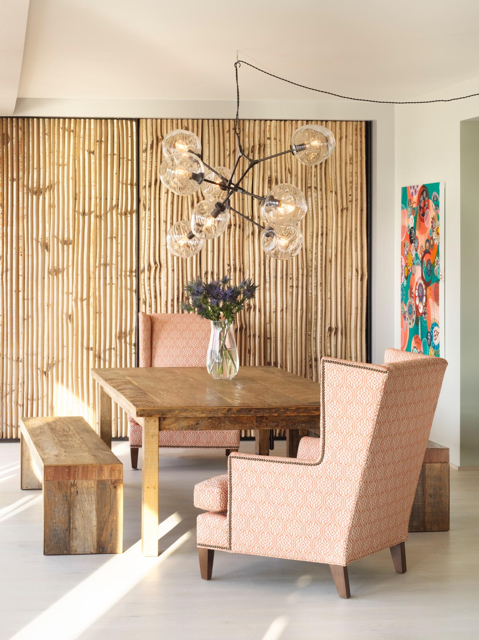 Бамбуковые обои в интерьере модерн