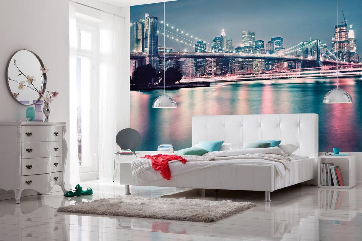 """Фотообои """"мост"""" над кроватью"""