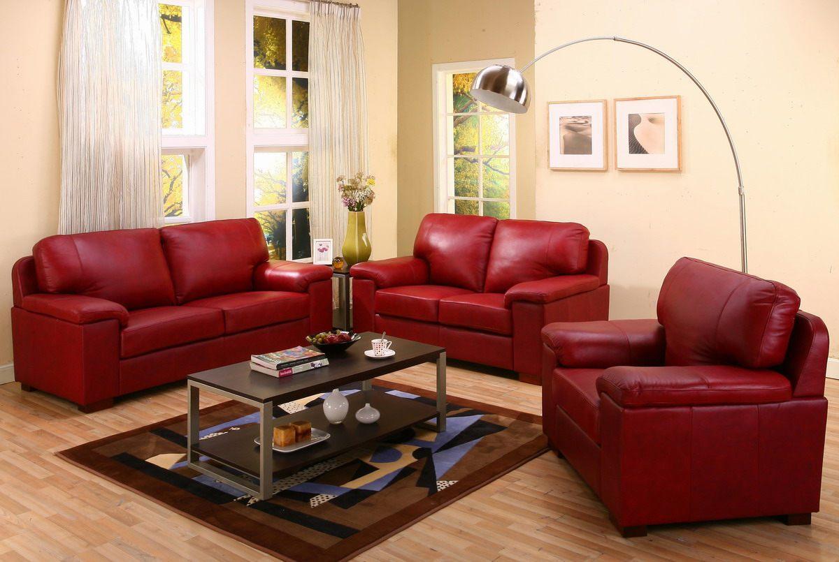 Мягкая мебель красного цвета