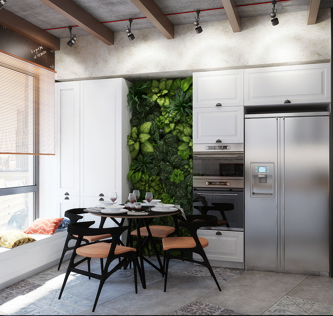 Вертикальное озеленение в нише на кухне