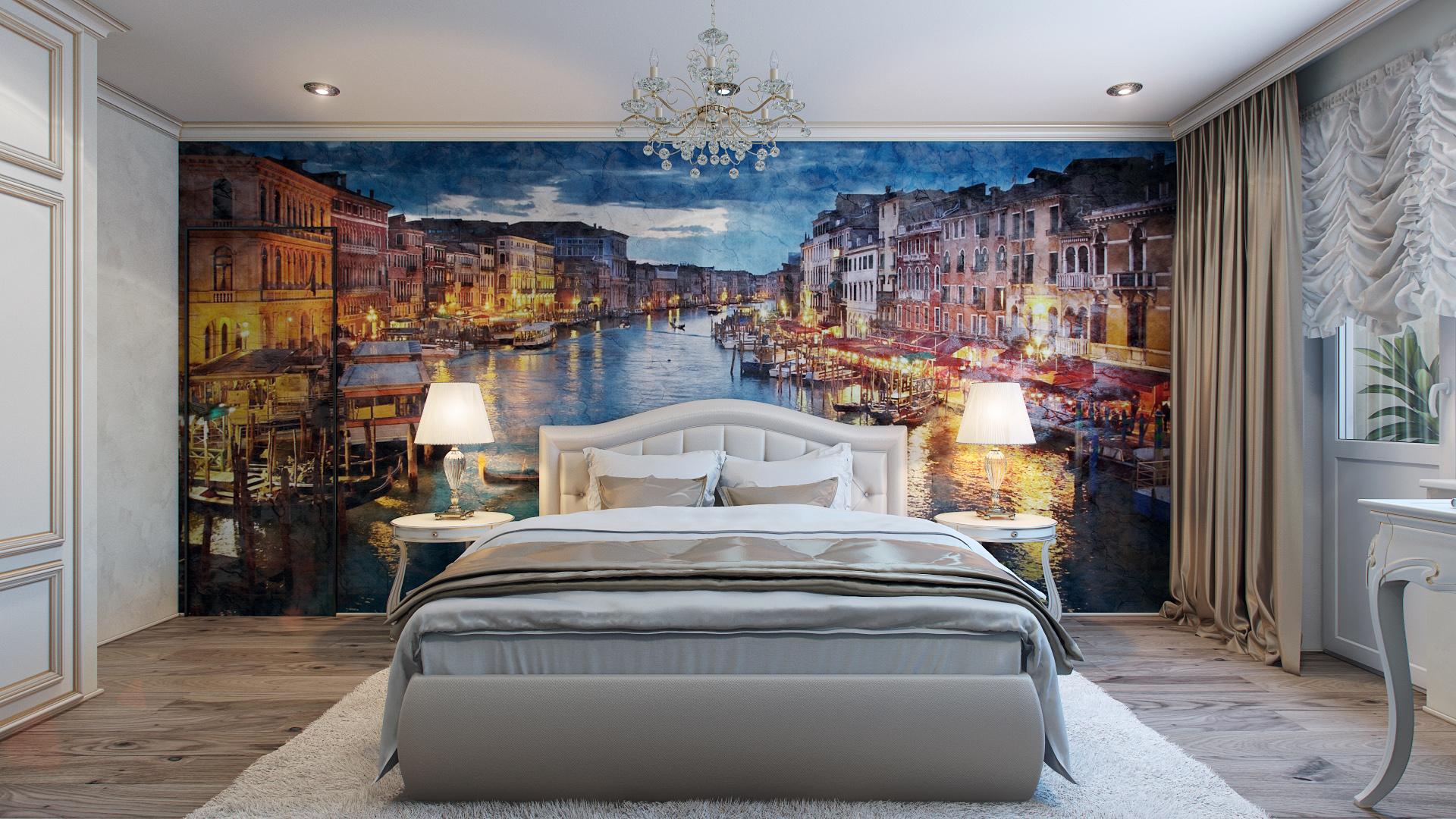 Фотообои с изображением старого ночного города над кроватью в спальне