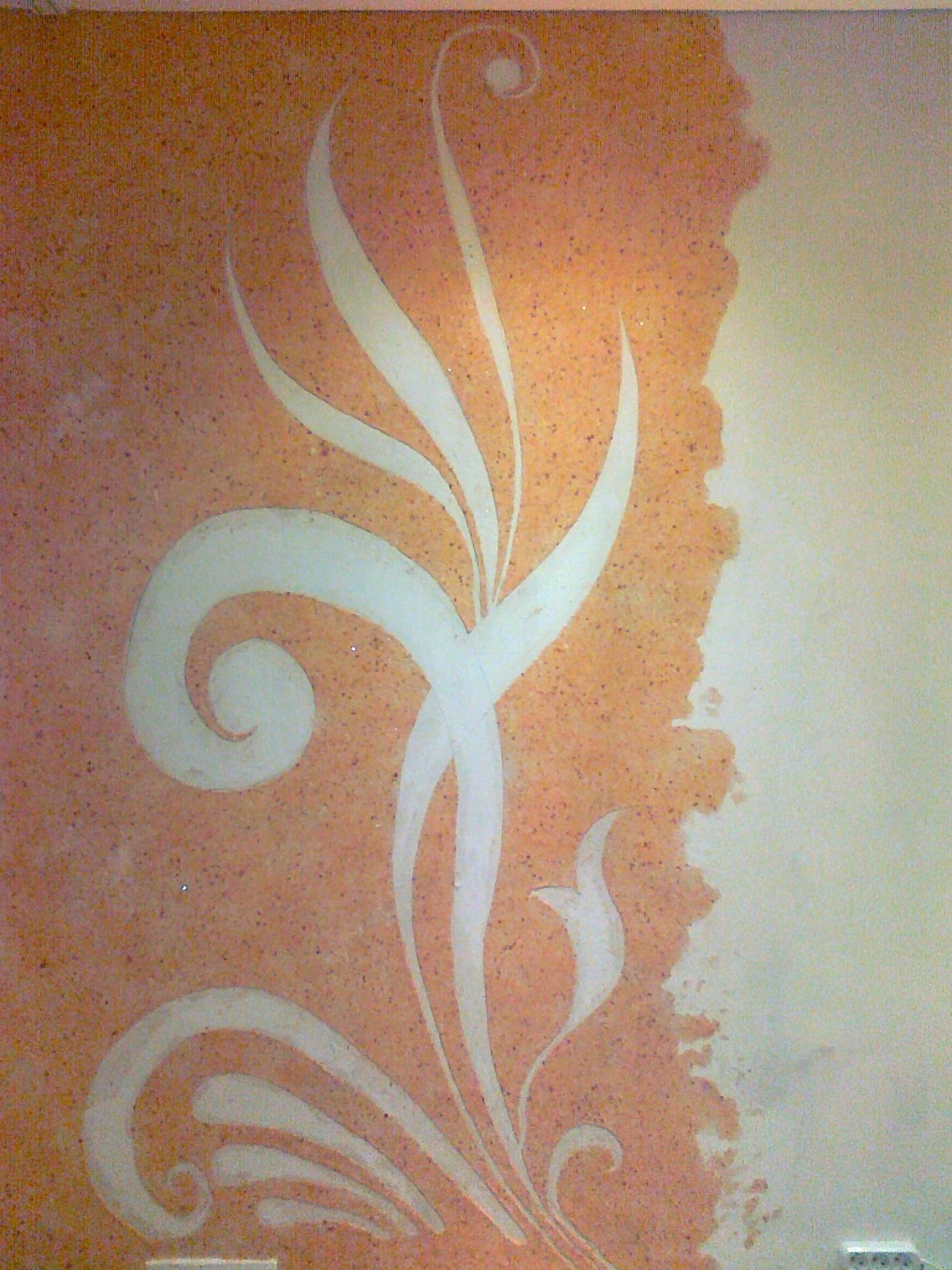 Рисунок оранжевыми жидкими обоями
