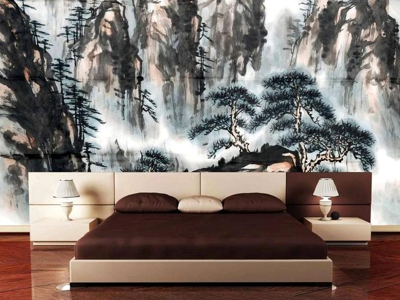 Фотообои с пейзажем над кроватью в спальне