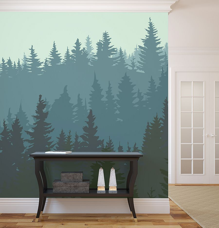 Рисунок леса на стене прихожей