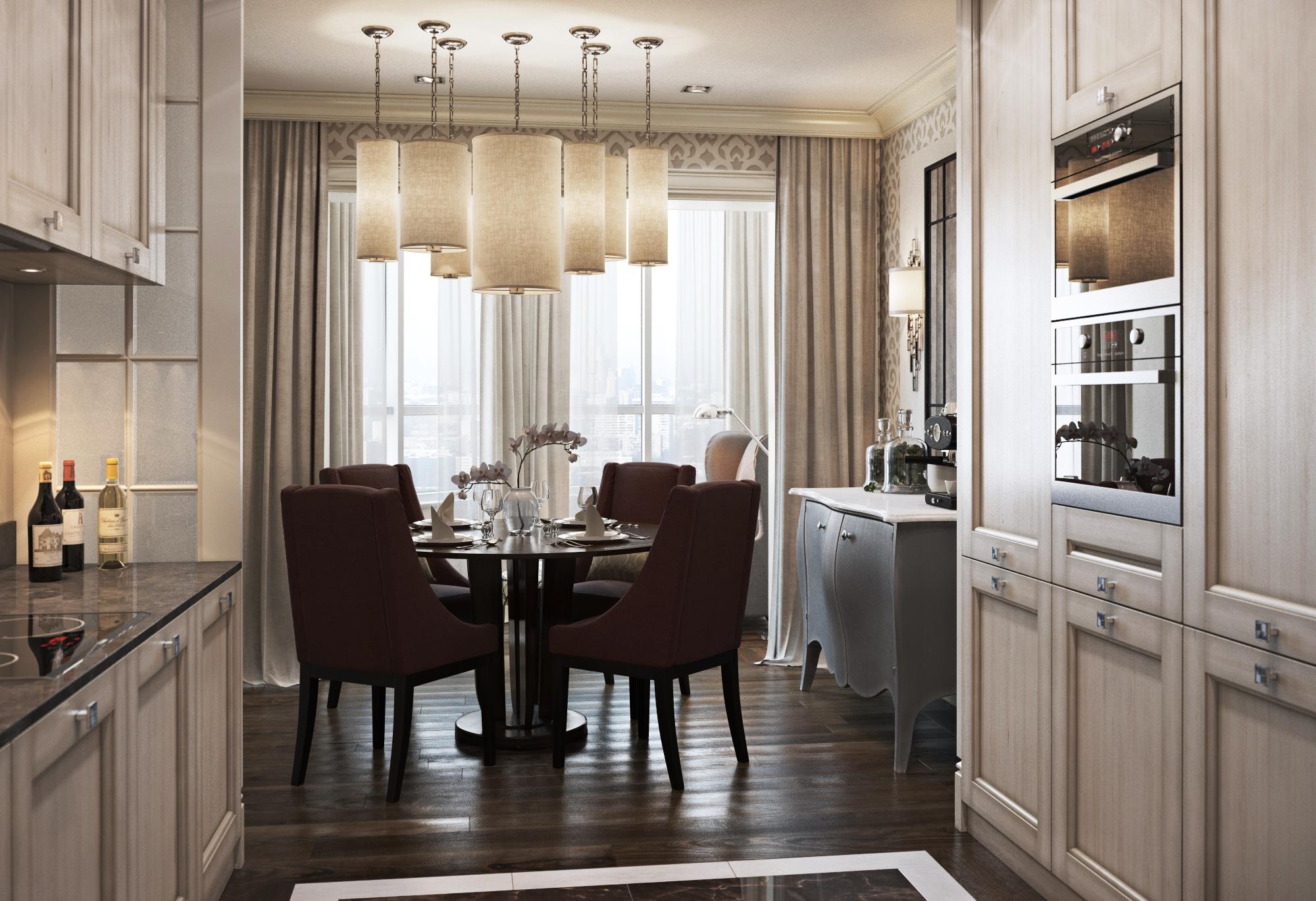 Кухня-гостиная с камином в стилистике прованса