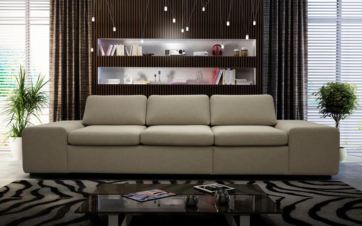 Прямой тканевый диван в интерьере