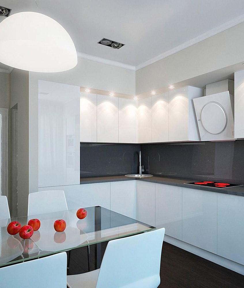 Кухонный гарнитур с распашными дверцами без ручек