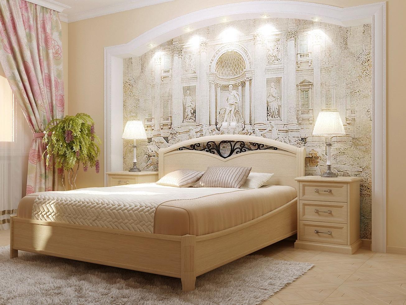 Подсветка стены в спальне в римском стиле