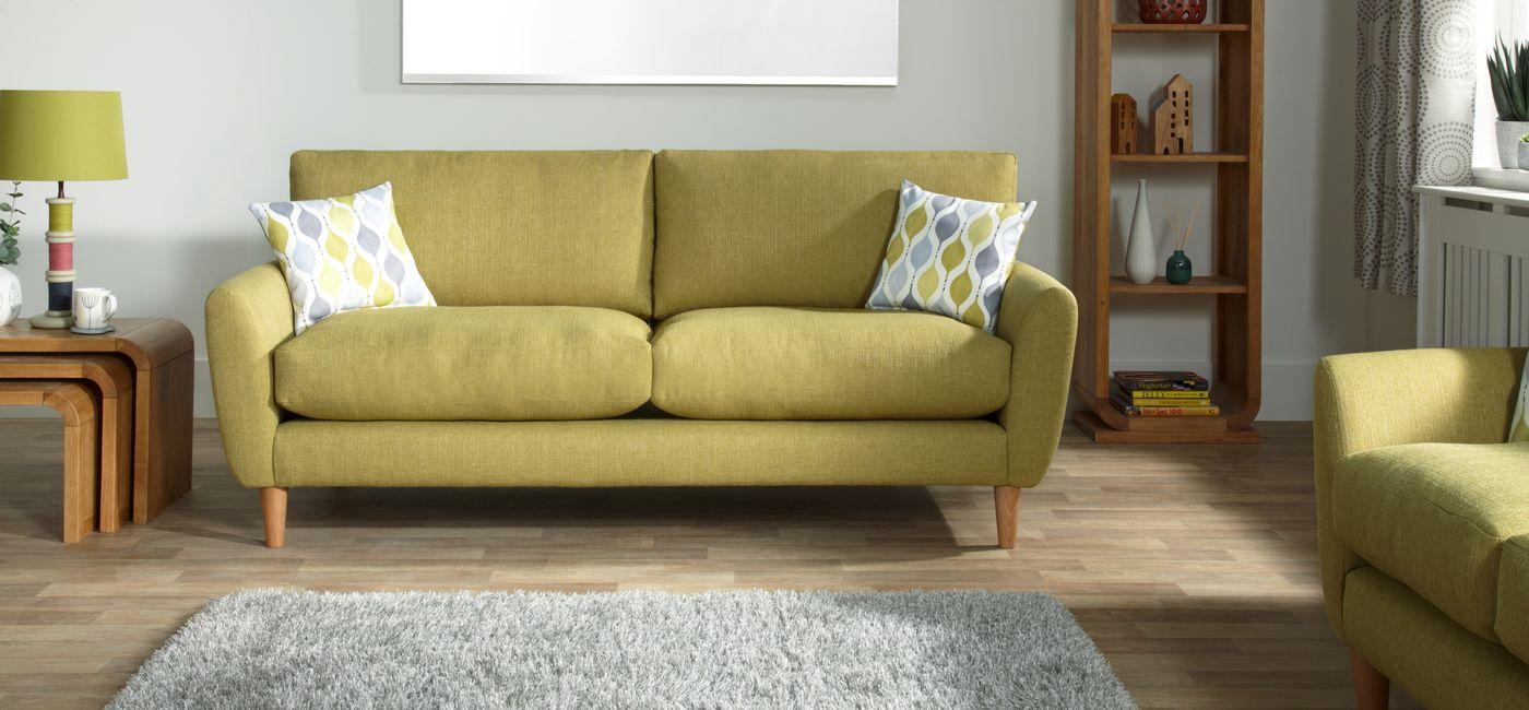 Прямой диван из рогожки