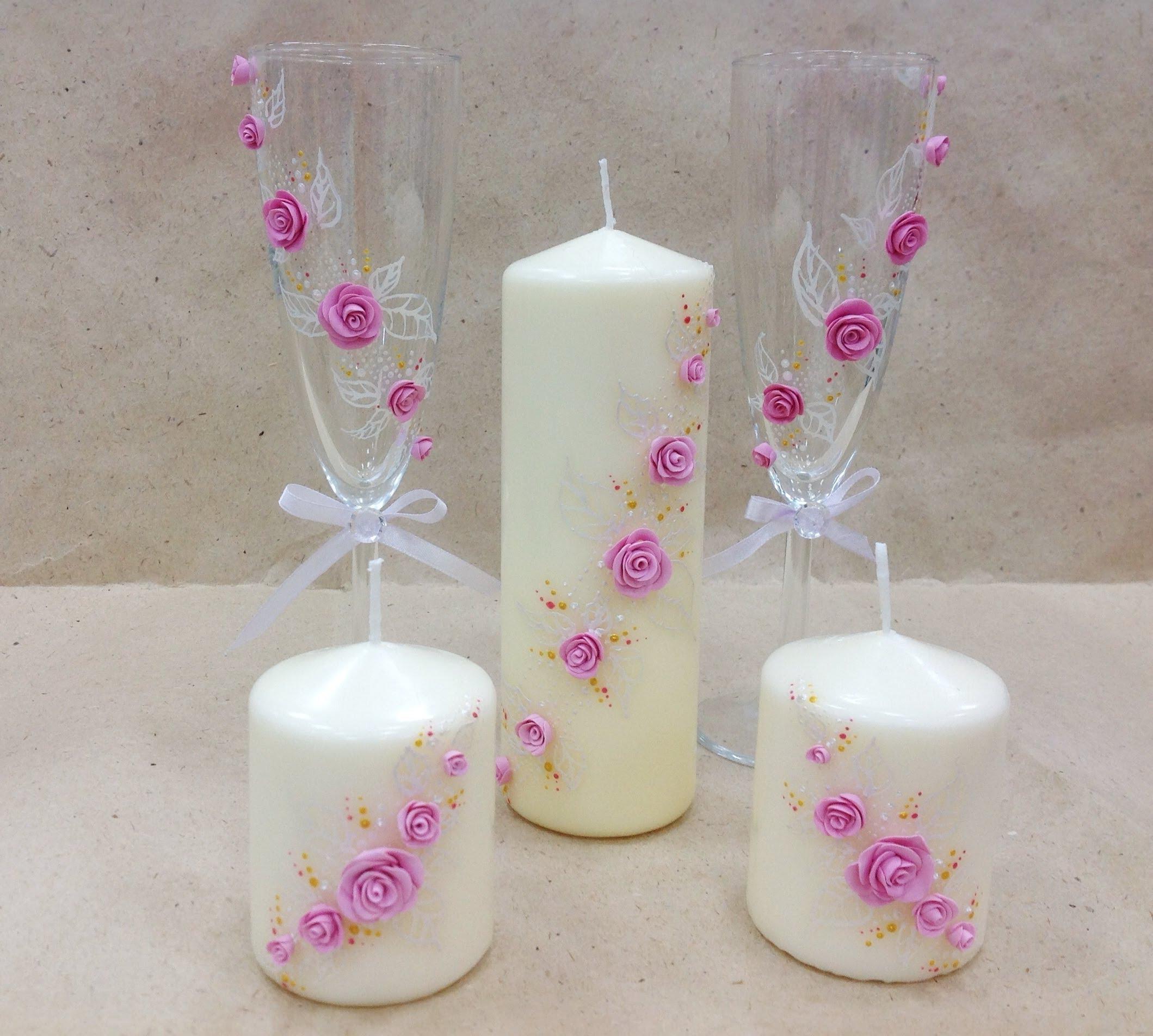 Декор свечи розочками