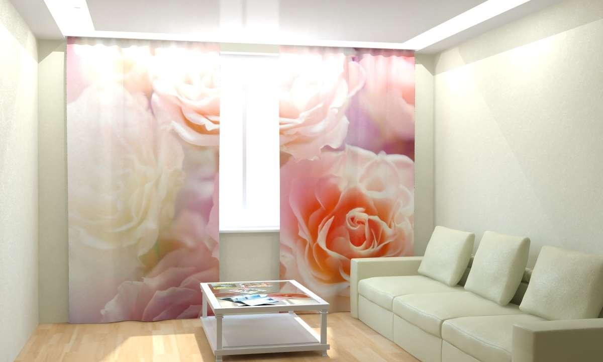 Шторы 3D с розами