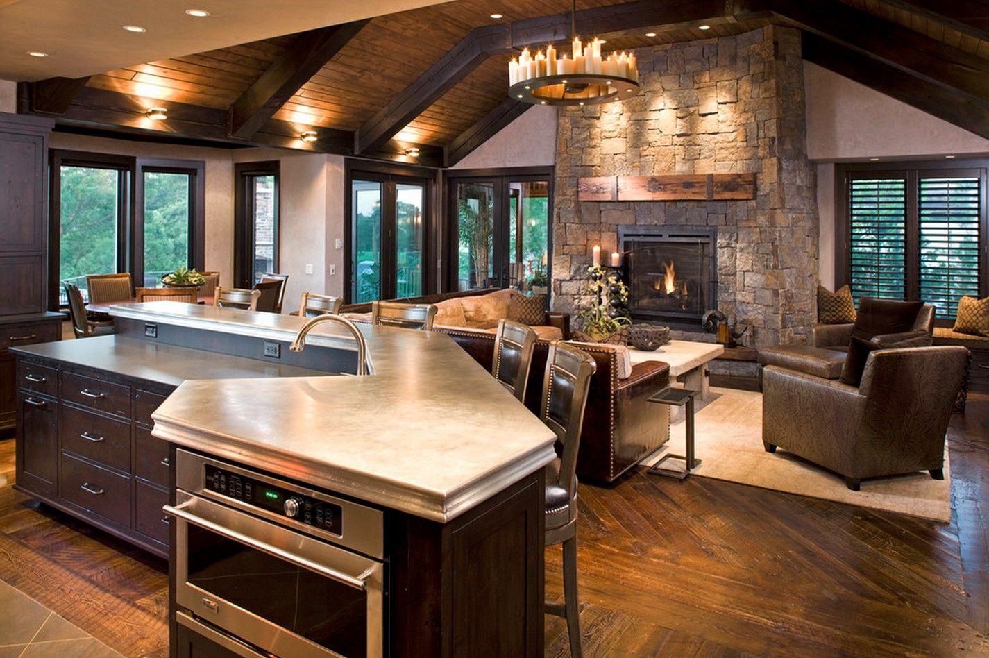Кухня-гостиная с камином в рустикальном стиле