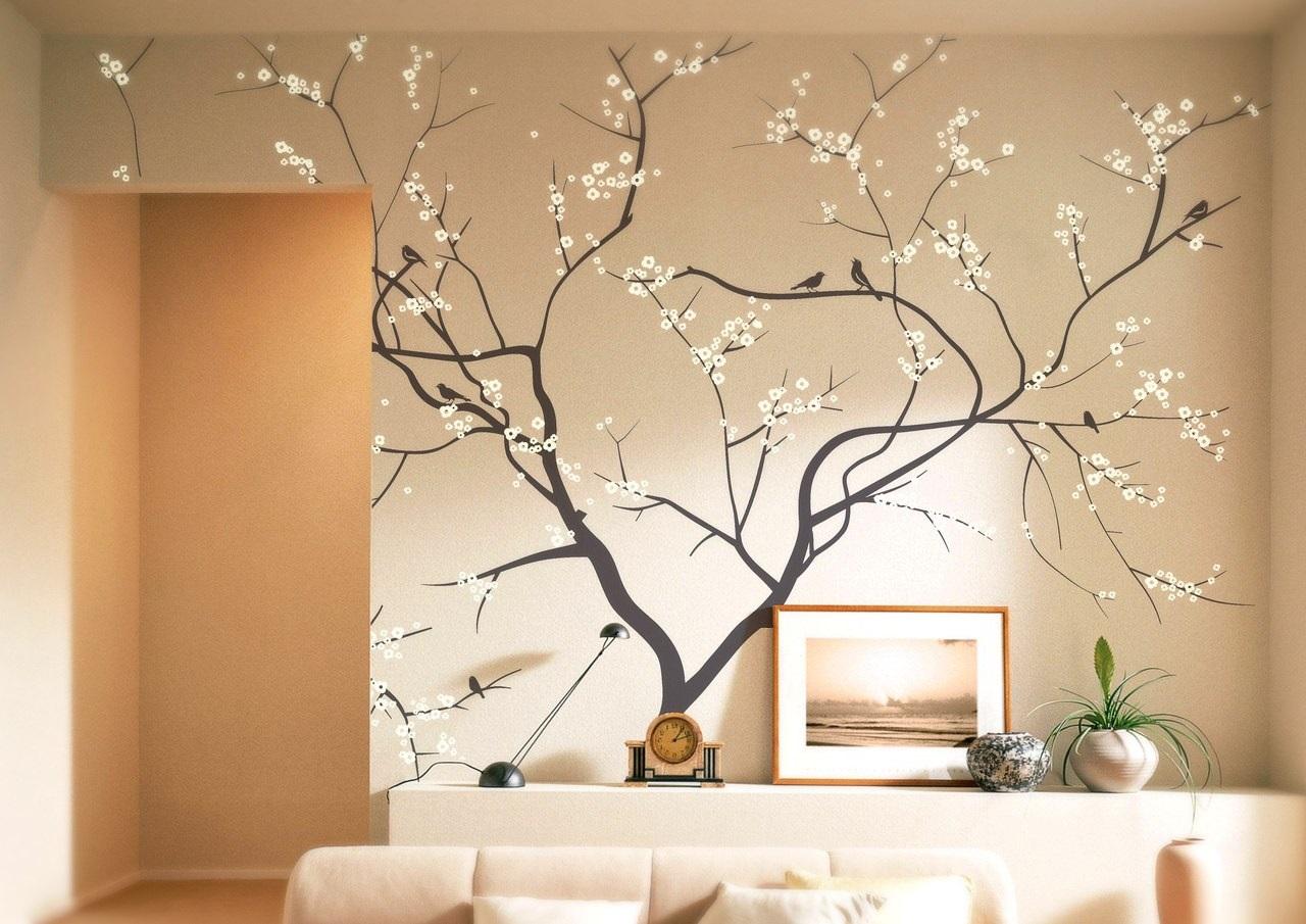 Рисунок сакуры на стене квартиры