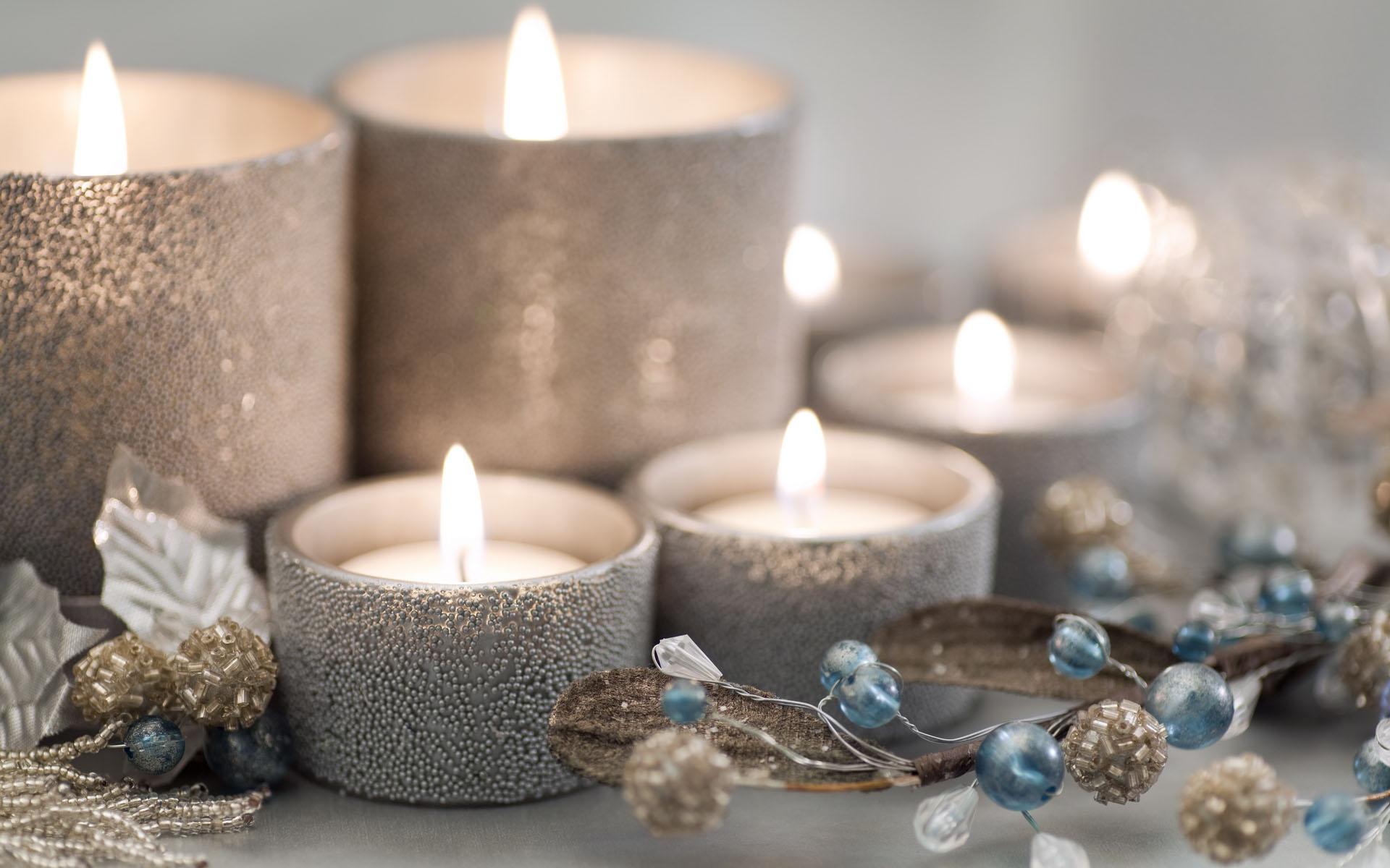Серебряный декор свечи