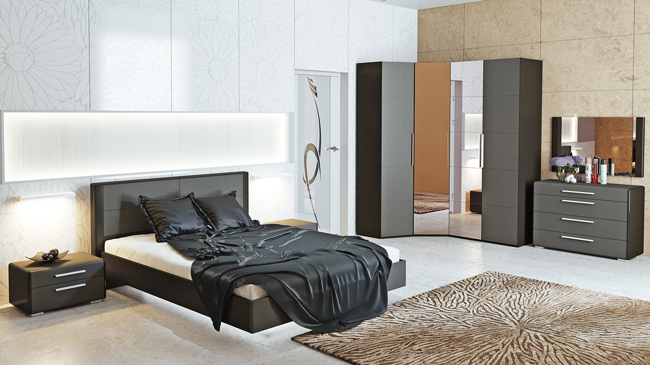 Серый спальный гарнитур
