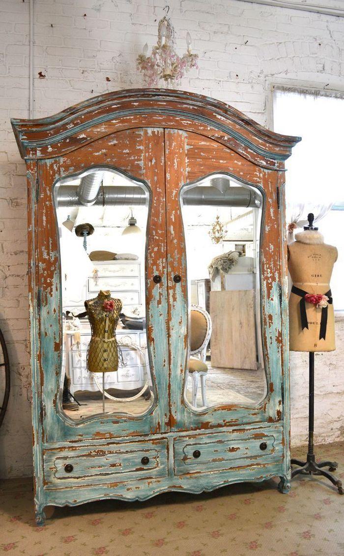 Декор шкафа в стиле шебби-шик