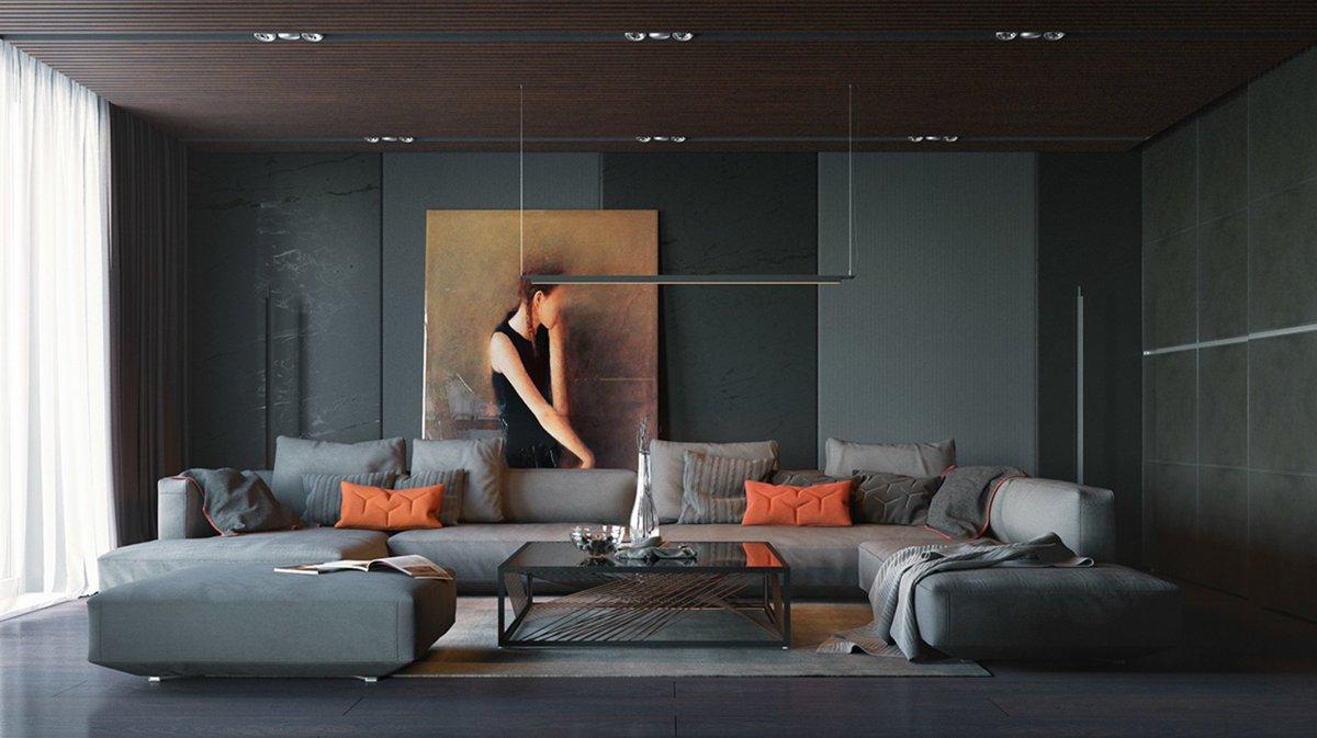 Широкий диван в стиле хай-тек