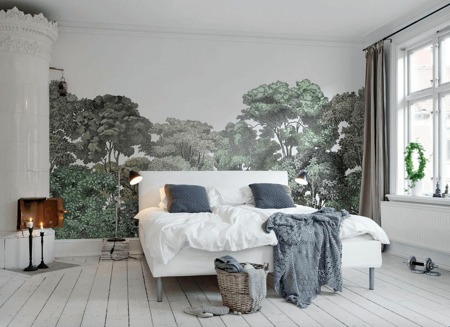 Рисунок на стене спальни в скандинавском стиле