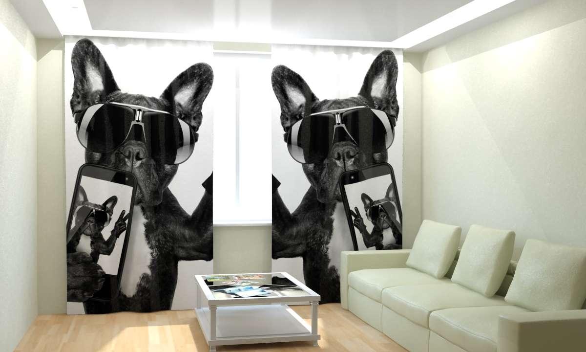 Шторы 3D с изображением собаки