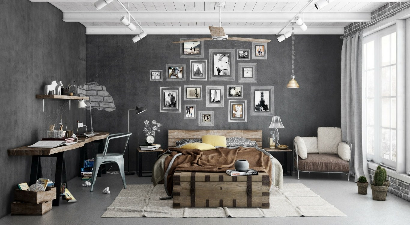 Спальня в стиле гранж