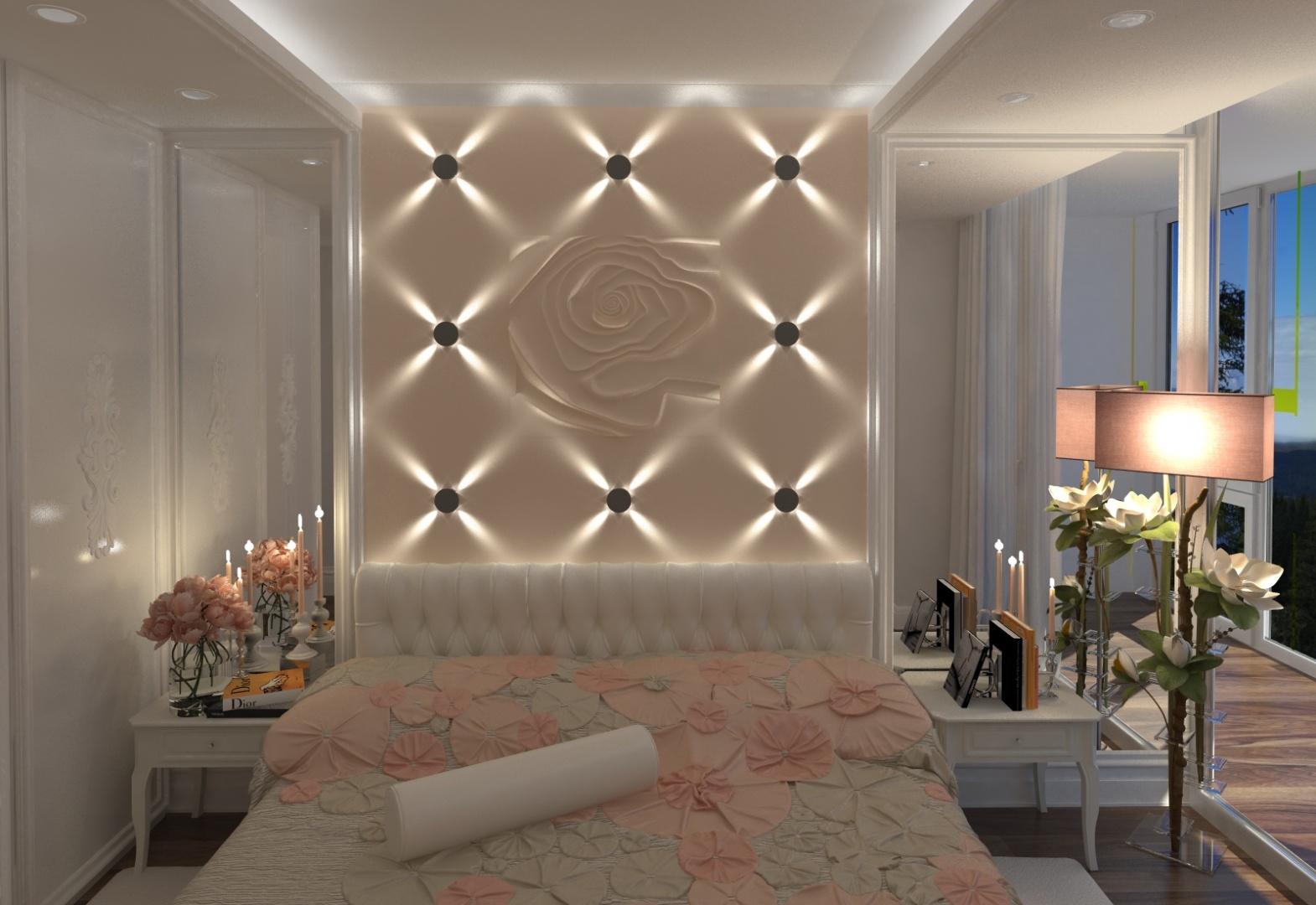 Подсветка стены в спальне