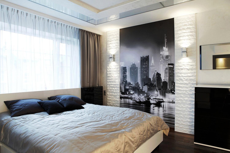 Гипсовый декоративный камень в интерьере спальни
