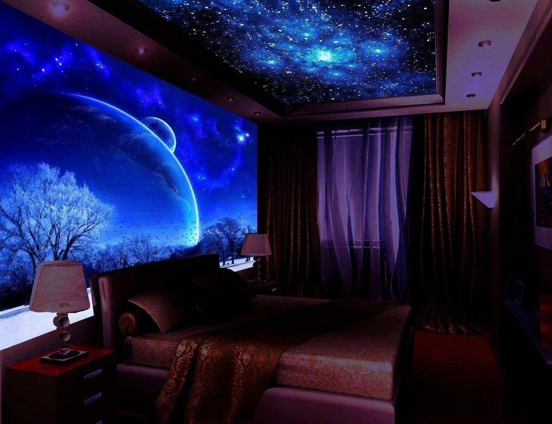 """Потолок """"звездное небо"""" в спальне"""