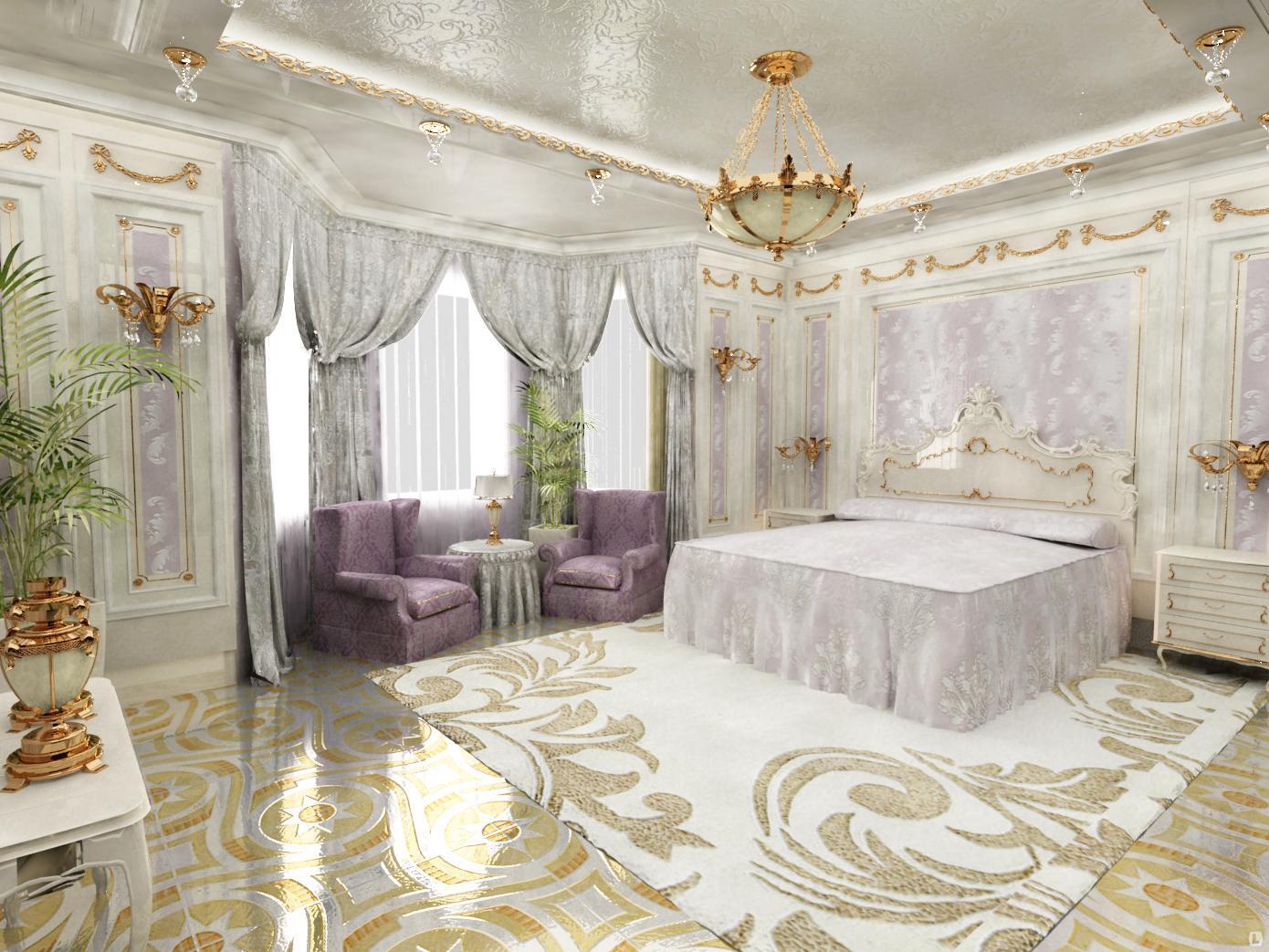 Лепной декор в спальне