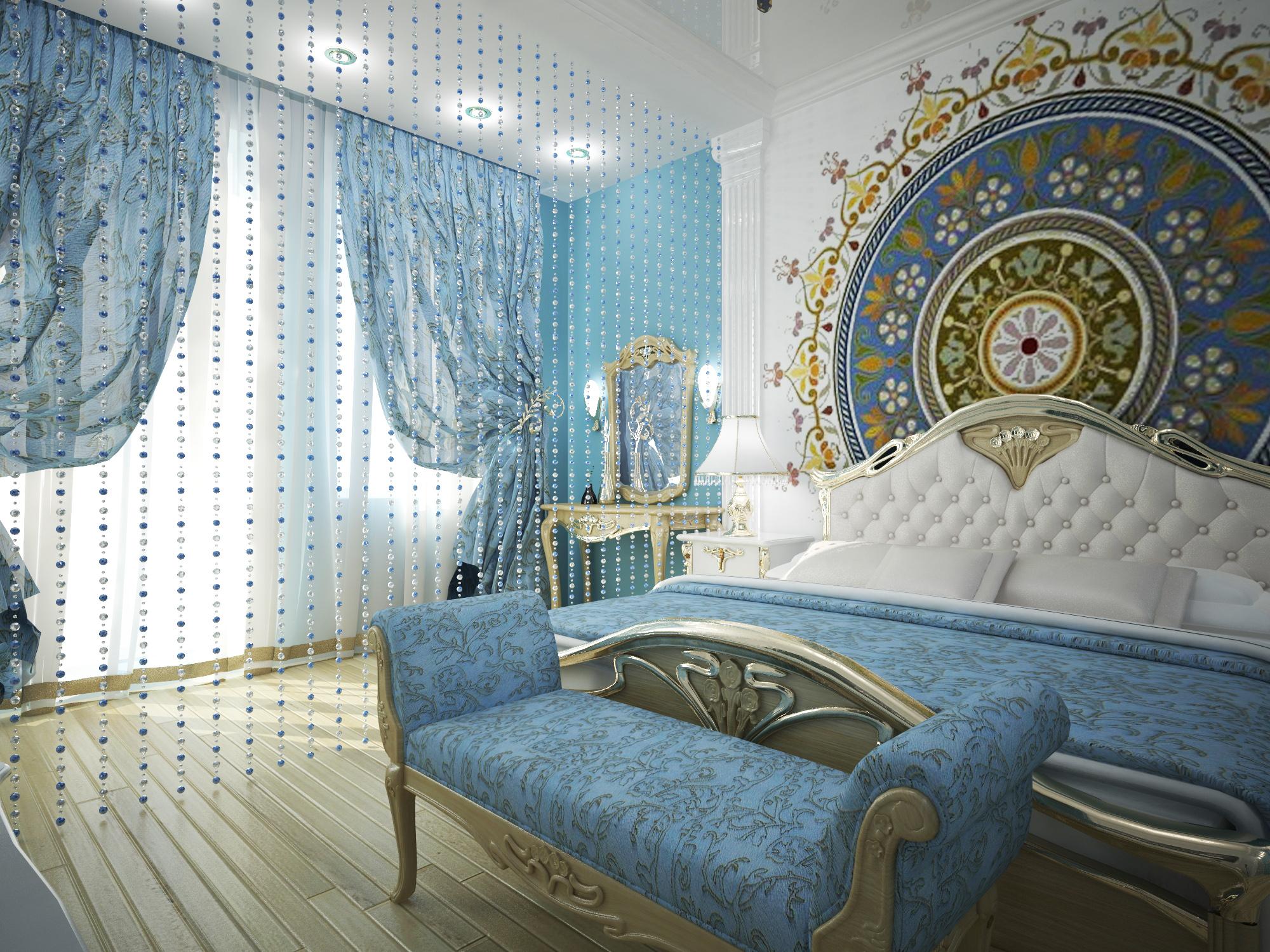 Штора из бусин в интерьере спальни