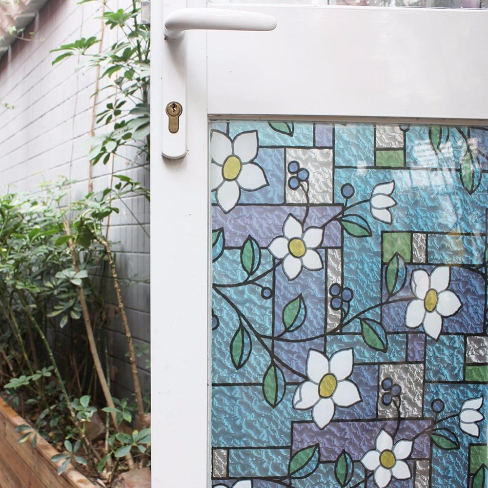 Витражная пленка на стеклянной двери