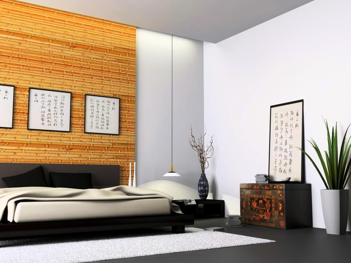 Бамбуковые обои на стене спальни