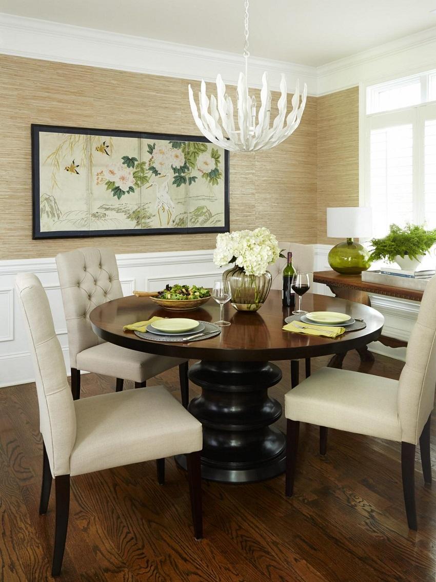 Бамбуковые обои в столовой
