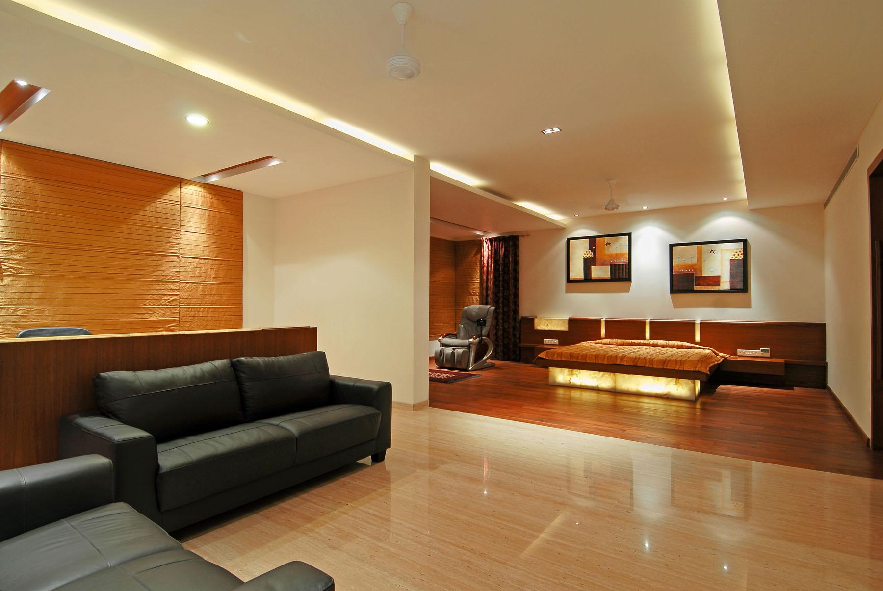 Светодиодная подсветка потолка в квартире-студии