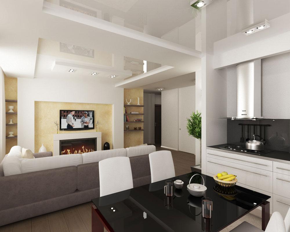 Комбинированный потолок в квартире-студии