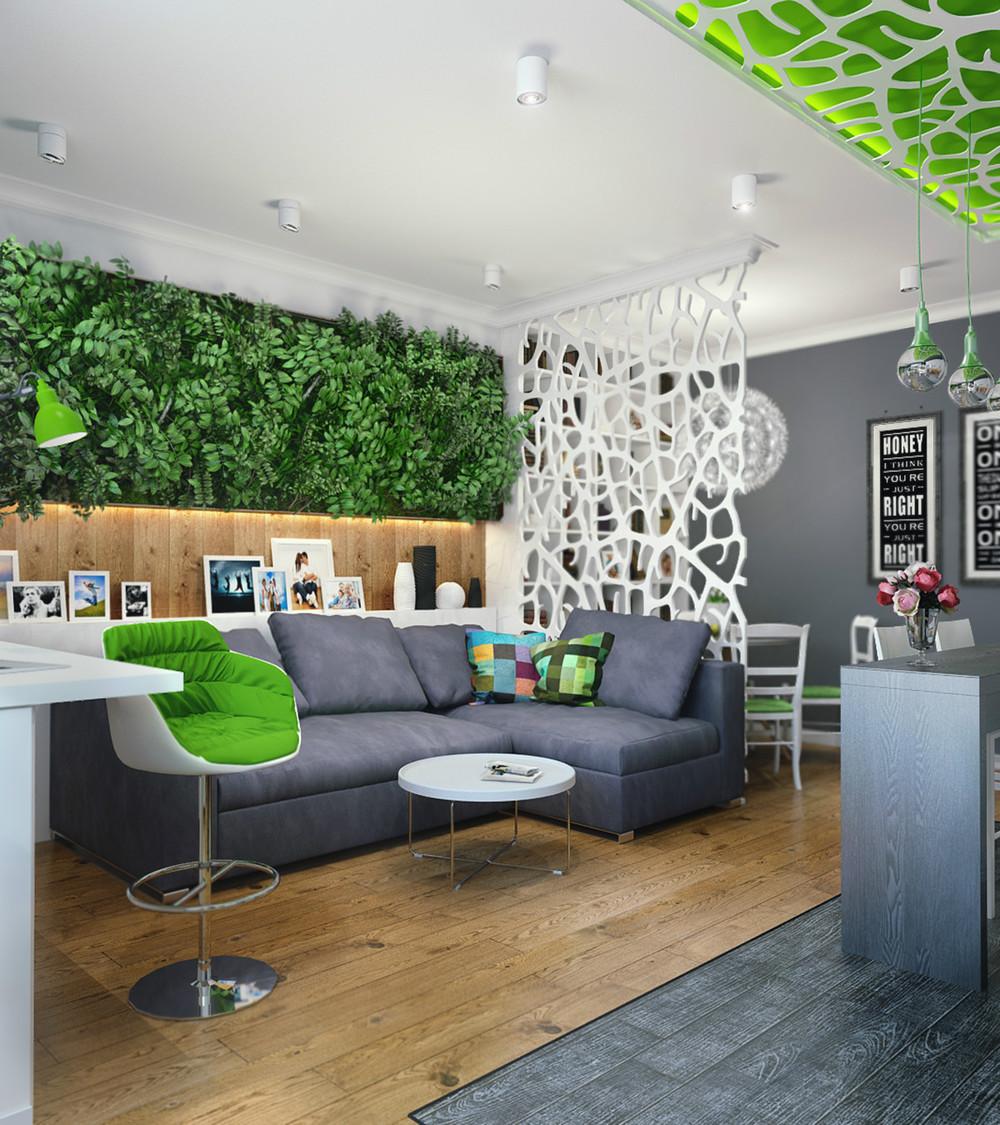 Вертикальное озеленение в квартире-студии