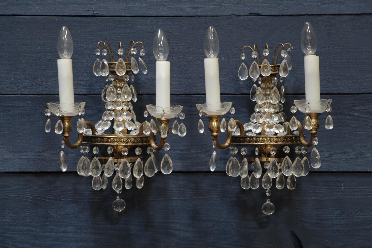 Хрустальное бра с лампочками-свечами